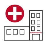 Simbolo delle costruzioni dell'ospedale con l'incrocio Fotografia Stock Libera da Diritti