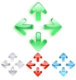 Simbolo delle frecce da vetro liscio Fotografia Stock