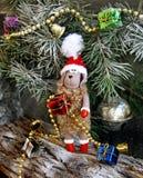Simbolo 2015 delle pecore del giocattolo dell'albero di Natale Immagini Stock