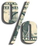 % - simbolo delle percentuali Struttura del dollaro americano Fotografie Stock Libere da Diritti