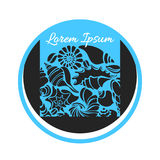 Simbolo delle siluette delle conchiglie nel cerchio Mondo subacqueo Vettore Immagini Stock Libere da Diritti