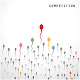 Simbolo dello sperma e della concorrenza, concetto di affari Fotografia Stock