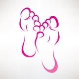 Simbolo descritto stampa del piede Fotografia Stock