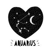 Simbolo di acquario Illustrazione disegnata a mano di vettore dello zodiaco Priorità bassa stellata Progettazione puerile in bian Fotografia Stock