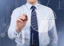 Simbolo di analisi dei dati del disegno dell'uomo d'affari Immagine Stock