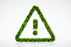 Simbolo di attenzione della foglia di ecologia Immagini Stock