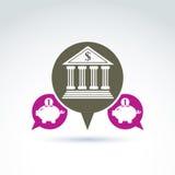 Simbolo di attività bancarie di vettore, icona dell'istituzione finanziaria Bolla di discorso illustrazione di stock