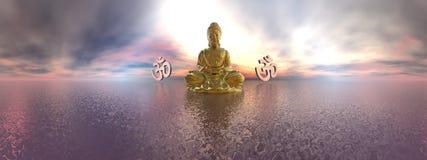 Simbolo di aum e di Buddha - 3D rendono Fotografia Stock Libera da Diritti