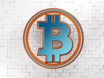 Simbolo di Bitcoin con il fondo dei cubi Immagine Stock Libera da Diritti
