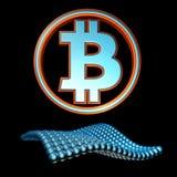 Simbolo di Bitcoin con il fondo del nero dell'onda della sfera Fotografia Stock