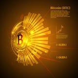 Simbolo di Bitcoin e grafico di prezzi Concetto di Cryptocurrency Progettazione futuristica di vettore Fotografia Stock