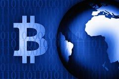 Simbolo di Bitcoin sull'illustrazione del fondo di notizie Fotografie Stock Libere da Diritti