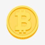 Simbolo di Bitcoin sulla moneta di oro Fotografia Stock Libera da Diritti