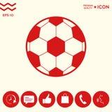 Simbolo di calcio Icona del pallone da calcio Fotografia Stock
