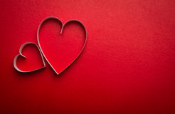 Simbolo di carta di forma del cuore per il giorno di biglietti di S. Valentino con lo spazio della copia Fotografie Stock Libere da Diritti