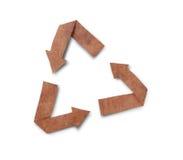 Simbolo di carta e isolato riciclato su bianco Immagini Stock Libere da Diritti