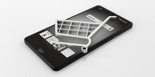 simbolo di commercio elettronico della rappresentazione 3d su uno Smart Phone Immagine Stock