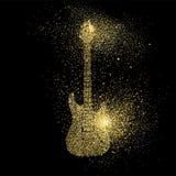 Simbolo di concetto di arte di scintillio dell'oro della chitarra elettrica Immagini Stock Libere da Diritti
