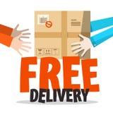 Simbolo di consegna gratuita con il pacchetto in mani umane Immagini Stock