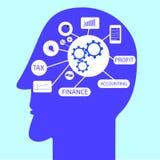 Simbolo di contabilità alla testa Immagini Stock Libere da Diritti