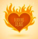 Simbolo di cuore bruciante con le fiamme del fuoco Fotografia Stock