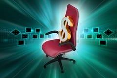 Simbolo di dollaro che si siede la sedia esecutiva Fotografia Stock