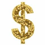 Simbolo di dollaro composto di dorato Fotografia Stock