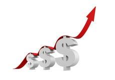 Simbolo di dollaro con crescere freccia Fotografia Stock Libera da Diritti