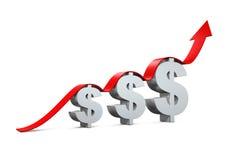 Simbolo di dollaro con crescere freccia Fotografia Stock