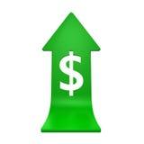 Simbolo di dollaro con crescere freccia Immagini Stock