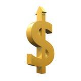 Simbolo di dollaro con crescere freccia Immagine Stock Libera da Diritti
