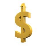 Simbolo di dollaro con crescere freccia Fotografie Stock
