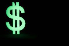 Simbolo di dollaro d'ardore nello scuro Fotografia Stock Libera da Diritti