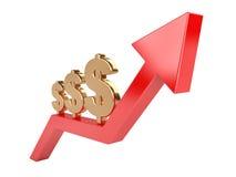 Simbolo di dollaro dell'oro su una freccia crescente rossa Fotografie Stock Libere da Diritti