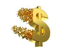 Simbolo di dollaro di sgonfiamento Fotografia Stock Libera da Diritti