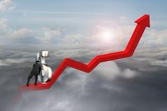 Simbolo di dollaro di spinta 3D dell'uomo d'affari verso l'alto a punto di partenza Immagine Stock Libera da Diritti