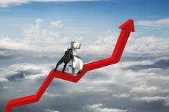 Simbolo di dollaro di spinta 3D dell'uomo d'affari verso l'alto sulla linea di tendenza rossa Fotografie Stock