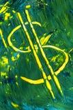 Simbolo di dollaro dipinto sull'inclinazione di carta Fotografie Stock