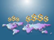Simbolo di dollaro dorato che galleggia in basso su poli della mappa di mondo 3D con il whi Fotografie Stock