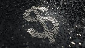 Simbolo di dollaro fatto dei numeri d'argento Animazione concettuale stock footage