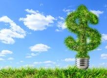 Simbolo di dollaro fatto di erba su cielo blu Fotografia Stock