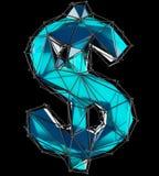 Simbolo di dollaro fatto nel colore blu di poli stile basso isolato su fondo nero Fotografia Stock
