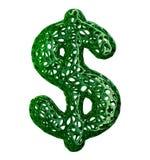 Simbolo di dollaro fatto di plastica verde con i fori astratti isolati su fondo bianco 3d Immagine Stock