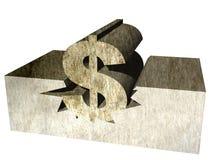 Simbolo di dollaro mezzo sepolto Fotografia Stock Libera da Diritti