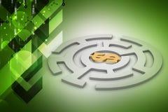 Simbolo di dollaro nel labirinto del cerchio royalty illustrazione gratis
