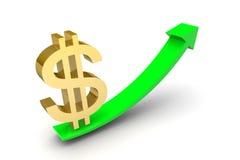 Simbolo di dollaro sulla freccia Fotografie Stock