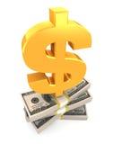 Simbolo di dollaro sulla pila di dollari di U.S.A. Fotografia Stock Libera da Diritti