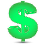 Simbolo di dollaro verde Fotografia Stock