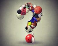 Simbolo di domande di sport come attrezzatura immagini stock libere da diritti