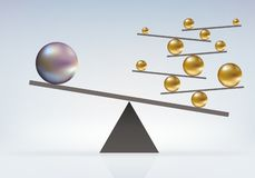 Simbolo di equilibrio impossibile fra le palle dei calibri differenti illustrazione vettoriale